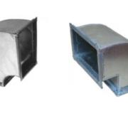 Вертикальный прямоугольный отвод 90 гр. из оцинкованной стали